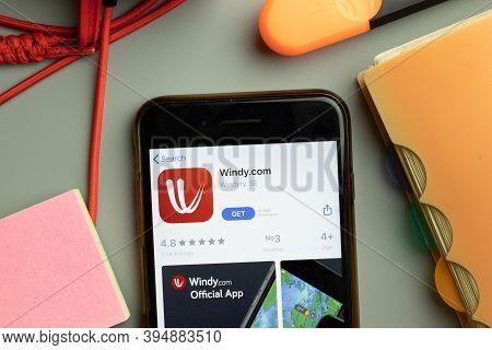 New York, United States - 7 November 2020: Windy.com Windy Com App Store Logo On Phone Screen, Illus