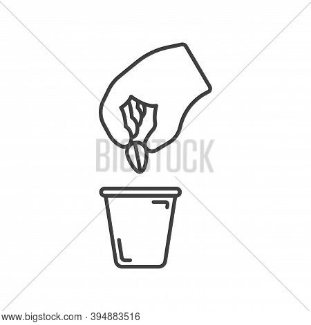 Planting Seed Plant Icon. Simple Line Drawing Of A Hand Planting A Seed From A Plant In A Flower Pot