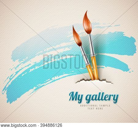 Artist brushes for drawing from torn textured paper art concept. 3D illustration.