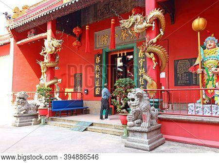 Kuala Lumpur, Malaysia - March 12, 2019: Entrance To The Taoist Temple A Guan Di Temple Decorated Co