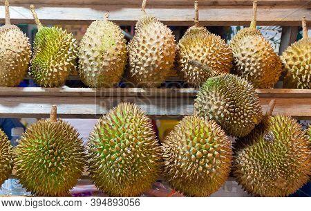 Rows Of Durian Fruits At Jalan Alor Food Street In Kuala Lumpur. Popular Fetid Asiatic Fruit. Photo