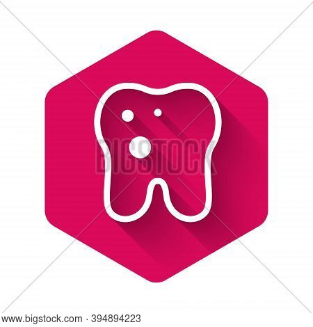 White Tooth With Caries Icon Isolated With Long Shadow. Tooth Decay. Pink Hexagon Button. Vector