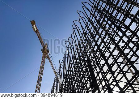 Tower Crane And Metal Reinforcement Framework Of Concrete Wall