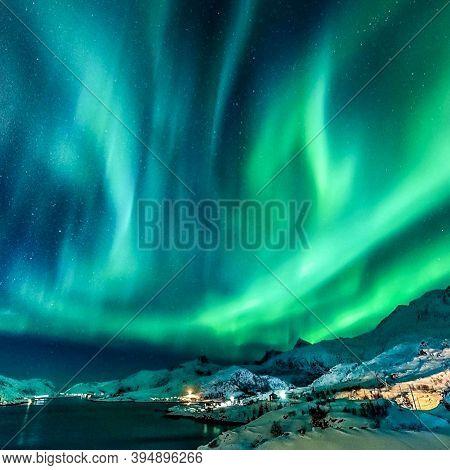 Norway- 28.8.20.20: Multicoloured Green Vibrant Aurora Borealis Polaris, Northern Lights In Night Sk