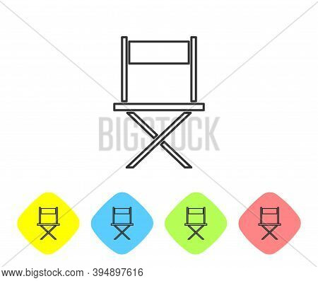 Grey Line Director Movie Chair Icon Isolated On White Background. Film Industry. Set Icons In Color