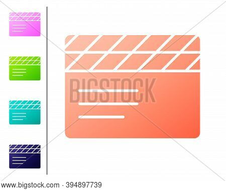 Coral Movie Clapper Icon Isolated On White Background. Film Clapper Board. Clapperboard Sign. Cinema