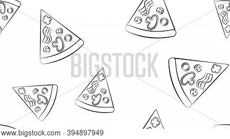 Slice Of Pizza On Thin Dough, White Background, Vector Illustration, Pattern. Pizza Stuffed With Mea