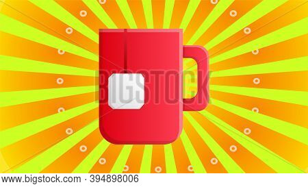 Mug Of Red Tea With A Tea Bag Inside On A Yellow Retro Background, Vector Illustration. Tea With A D