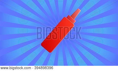 Ketchup On Blue, Striped Retro Background, Vector Illustration. Red Ketchup, Fast Food Seasoning. Re