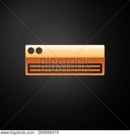 Gold Air Conditioner Icon Isolated On Black Background. Split System Air Conditioning. Cool And Cold