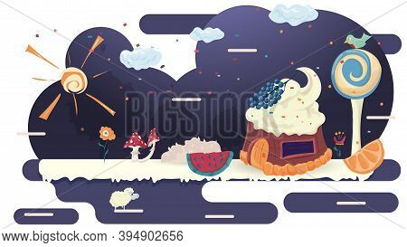 House Cupcake Cake With Berries On The Roof, In A Glade Of Icing, Among Trees And Flowers, Flat Vect