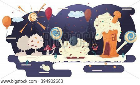 Houses Made Of Cakes, Pastry Baking In A Glade Of Icing, Among Trees Of Flowers And Balloons, Flat V