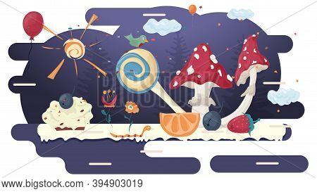 Mushroom Fly Agaric, In A Glade Of Glaze, Among Trees, Flowers, Berries, Fruits And Balloons, Flat V