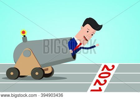 Businessman In Cannon On Starting Line Of The Year 2021.  Businessman Ready To Start 2021. Starting