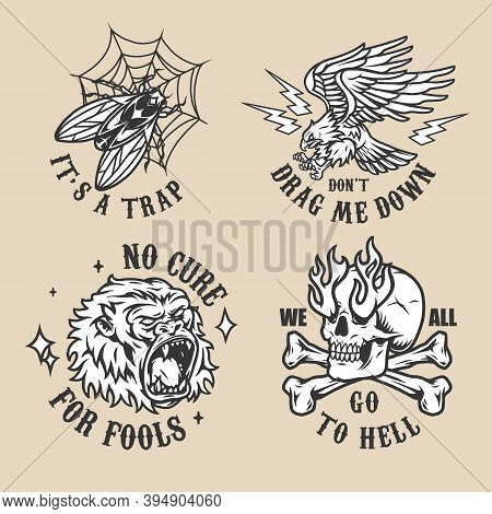 Vintage Tattoos Collection With Inscriptions Fly In Spiderweb Aggressive Gorilla Head Eagle And Ligh