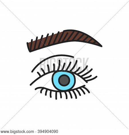 Eyelash And Eyebrow Lamination Color Line Icon. Pictogram For Web Page, Mobile App, Promo.