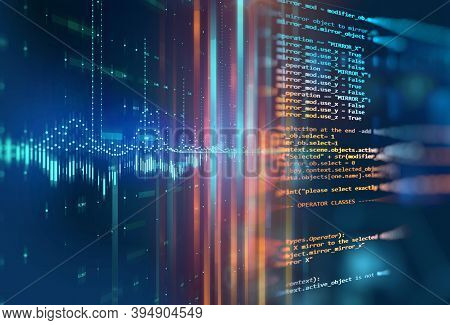 Science Formula And Math Equation Abstract Background. Concept Of Machine Learning And Artificial In