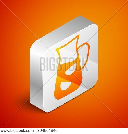 Isometric Sangria Icon Isolated On Orange Background. Traditional Spanish Drink. Silver Square Butto