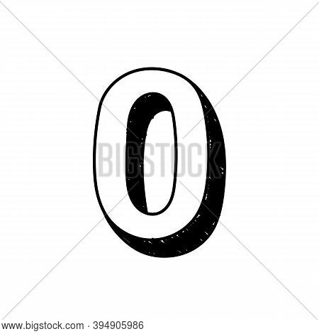 Number 0 Hand-drawn Font Alphabet. Vector Illustration Of Arabic Numerals Number 0. Hand-drawn Black