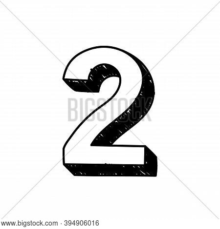 Number 2 Hand-drawn Font Alphabet. Vector Illustration Of Arabic Numerals Number 2. Hand-drawn Black