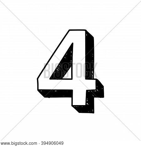 Number 4 Hand-drawn Font Alphabet. Vector Illustration Of Arabic Numerals Number 4. Hand-drawn Black