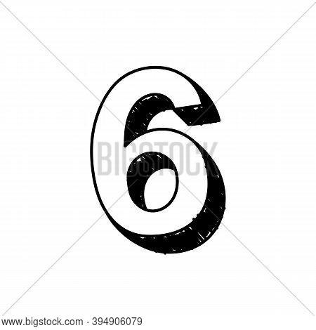 Number 6 Hand-drawn Font Alphabet. Vector Illustration Of Arabic Numerals Number 6. Hand-drawn Black