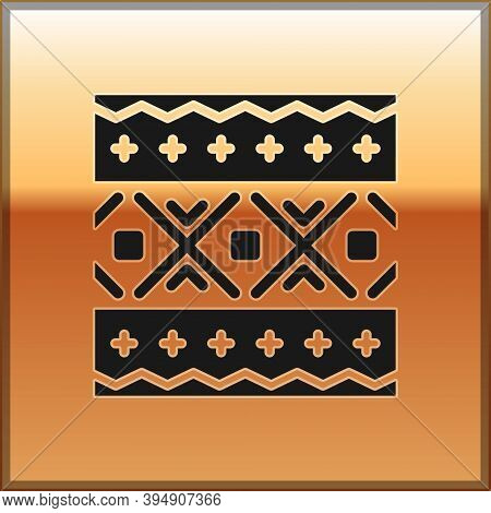 Black Ukrainian Ethnic Pattern For Embroidery Icon Isolated On Gold Background. Traditional Folk Art