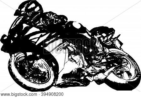 Man Riding Motorcycle In Asphalt Road. Motorcyclist At Black And White Sport Motorcycle