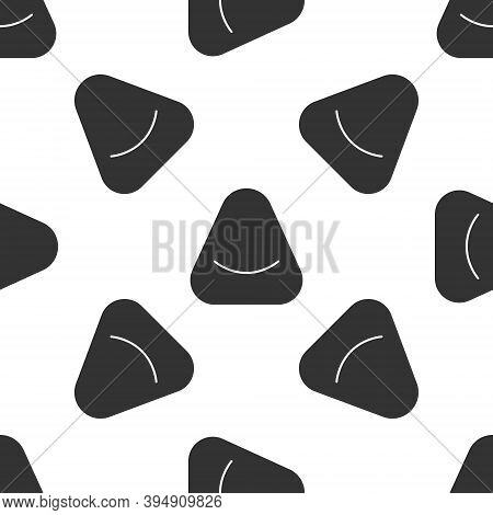Grey Pouf Icon Isolated Seamless Pattern On White Background. Soft Chair. Bag For The Seat. Comforta