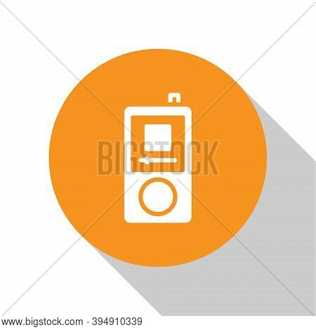 White Music Player Icon Isolated On White Background. Portable Music Device. Orange Circle Button. V