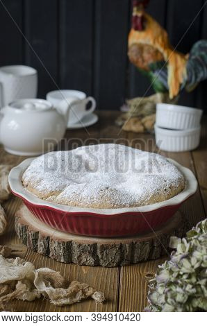 Closed Apple Pie On Cottage Cheese Dough In The Form