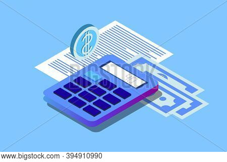Financial Audit Business Concept. Can Use For Web Banner, Infographics, Hero Images. Flat Isometric