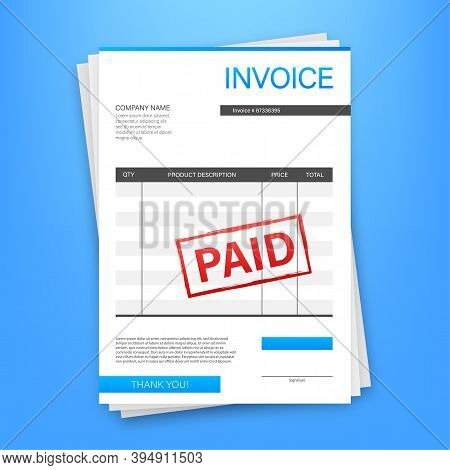 Invoice With Paid Stamp In Clipboard. Accounting Concept. Customer Service. Vector Stock Illustratio