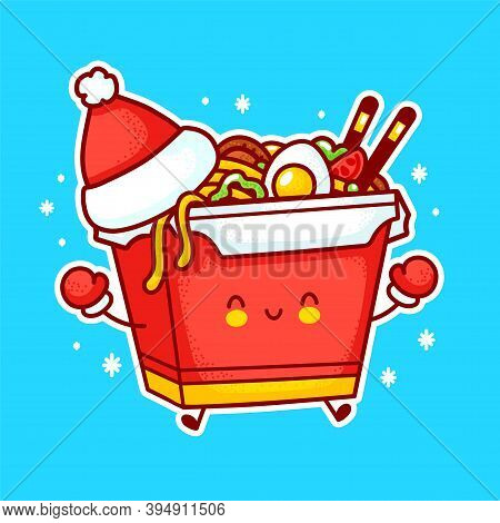 Cute Funny Happy Wok Noodle Box Character In Christmas Hat. Vector Flat Line Cartoon Kawaii Characte