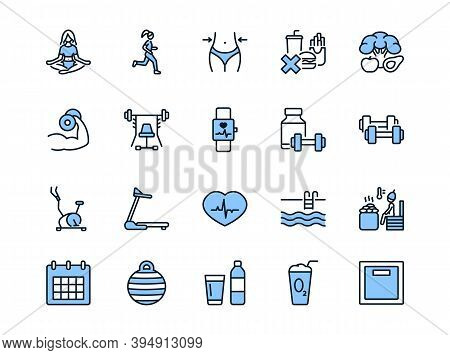 Fitness And Healthy Lifestyle Flat Line Icons Set Blue Color. Vector Illustration Slimming, Sport, G