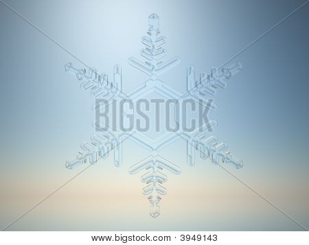 3D rendering of snowflake on light blue background poster