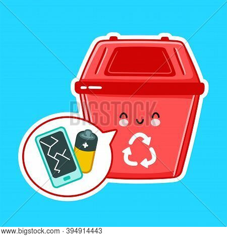 Cute Happy Garbage Container For E-waste. Vector Flat Line Cartoon Kawaii Character Illustration Ico