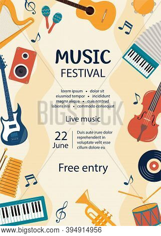 Music Festival Invitation. Musical Flyer, Poster Template. Musical Instruments And Vinyl Record. Gui