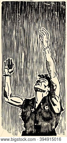 Scanned Woodcut Of A Soldier Raising His Hands To The Sky In Dramatic Way And Comics Style. Xylograp