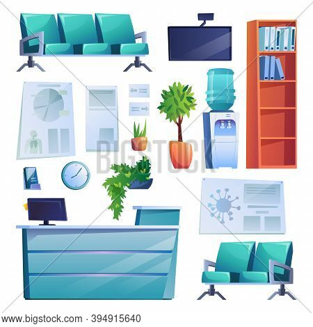 Hospital Reception Interior Set Of Objects Isolated On White. Vector Row Of Chairs, Reception Desk,