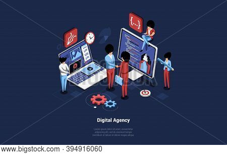 Creative Digital Agency Concept Vector Illustration In 3d Style. Isometric Cartoon Composition, Busi