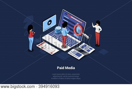 Isometric Illustration In Cartoon 3d Style. Vector Composition On Paid Media Concept, Contextual Tar