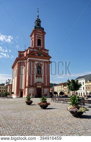 Hranice Na Morave, Czech Republic - July 5, 2016: Kostel Steti Sv. Jana Krtitele Church In The Cente
