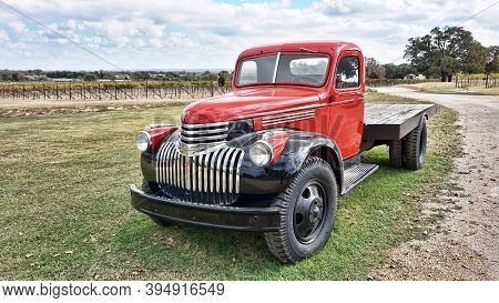 Fredericksburg,texas- Nov.12-2020  Augusta Vin Winery In Texas Hill Country With 1942 Gmc Wine Truck