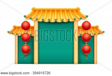 Pagoda China Japan Temple With Columns, Copy Space, Hanging Lanterns Isolated. Vector Green Building