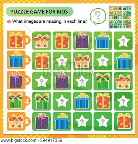 Sudoku Puzzle. What Images Are Missing In Each Line? Holiday Boxes, Souvenirs And Gifts. Logic Puzzl