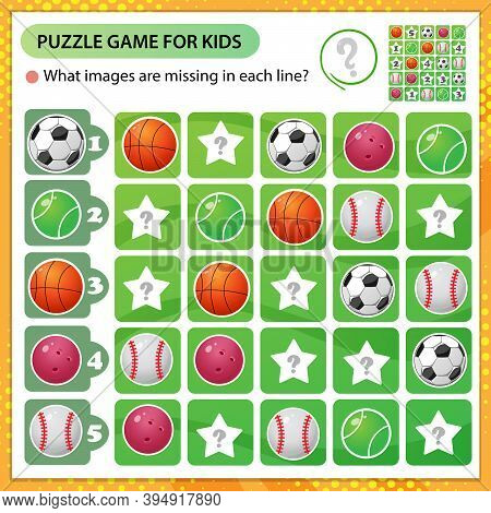 Sudoku Puzzle. What Images Are Missing In Each Line? Sports Balls. Logic Puzzle For Kids. Education