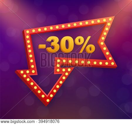 30 Percent Off Sale Discount Banner. Discount Offer Price Tag. 30 Percent Discount Promotion Flat Ic