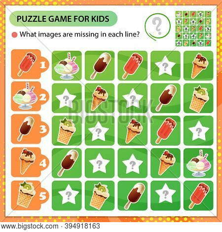 Sudoku Puzzle. What Images Are Missing In Each Line? Plombir And Fruit Ice. Ice Cream In A Waffle Cu