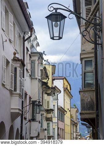 Historic City Of Merano, Bolzano, Trentino Alto Adige, Italy. A Street With Arches
